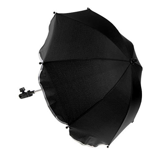 IPOTCH Parapluie Poussette Bebe Confort Ombrelle pour Poussette Universelle - Protégez Votre Bébé du Soleil et de La Pluie - Noir