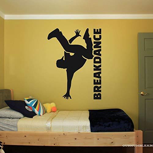 yaonuli Breakdance Silhouette mit Wort Wandtattoo Aufkleber Tanzaufkleber Familie Schlafzimmer Art Deco 57x77cm