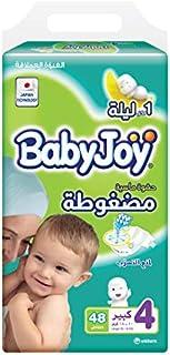 BabyJoy Compressed Diamond Pad, Size 4, Large, 10-18 kg, Jumbo Pack, 48 Diapers