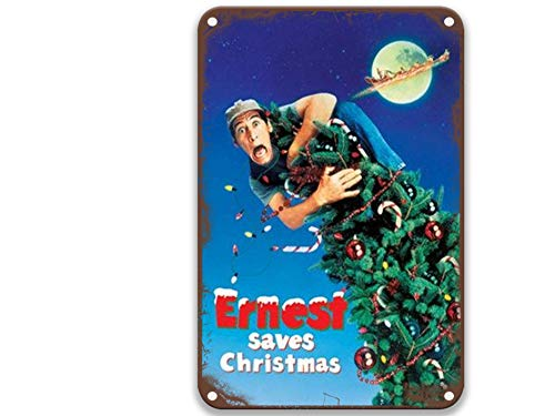 Ernest Saves Christmas 1988 Tin Signs Vintage Movies Poster Art Group for Coffee & Bar Custom Home Kitchen Office Toilet Decorative 8x12 Inches