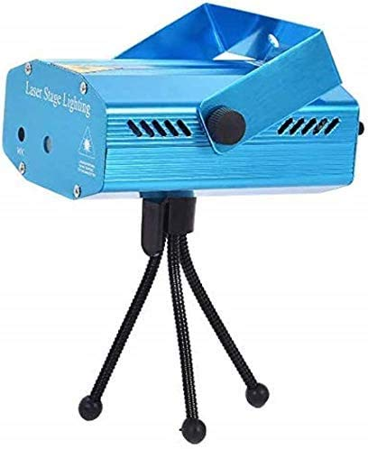 QIroseonly LED Mini Stage Light Laser Projector Club Dj Disco Bar Stage Light, Auto Flash Stage Projector Light with Tripod for Disco Lights Club Party(Blue)
