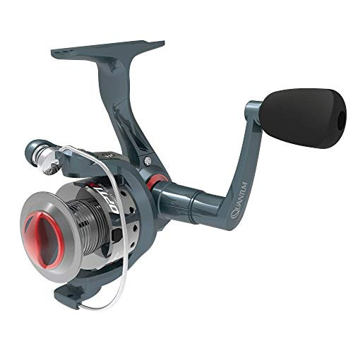 Quantum OP40D.BX3 Optix Spinning Fishing Reel, 4 Bearings (3 + Clutch), Continuous Anti-Reverse with Smooth, Precisely-Aligned Gears, Size 40, silver/red