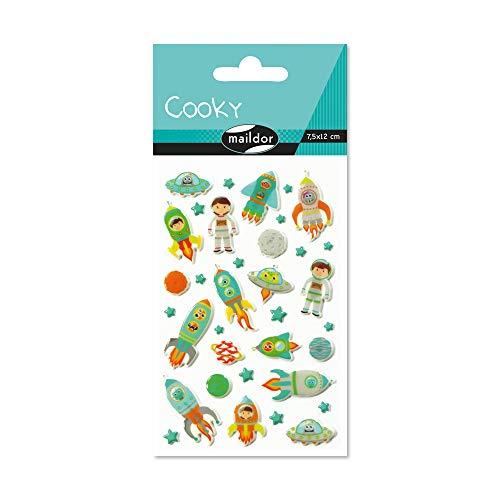 Maildor CY005O Packung mit Stickers Cooky 3D (1 Bogen, 7,5 x 12 cm, ideal zum Dekorieren, Sammeln oder Verschenken, Weltraum) 1 Pack