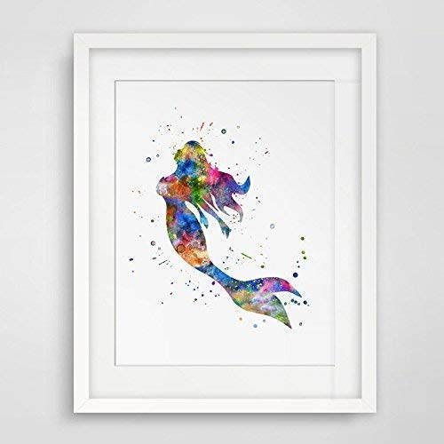 Colorful Fine Art Print Watercolor Mermaid Fish Poster Print Wall Decor Artwork Watercolor Painting Mermaid Girl Creative Wall Art Pictures 8x10inch No Frame