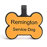 SiliDog – The Silent Pet Tag - As Seen On Shark Tank - No More Jingling Dog Tags – Durable - Never Fades - Customized Engraved Silicone ID - Bone - Orange