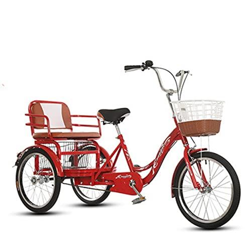 Bicicleta de 3 ruedas para adultos de 3 ruedas Cruiser Bike de 20 pulgadas de velocidad única con asiento trasero y cesta ajustable (color: rojo grande)
