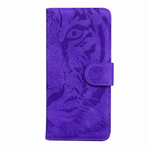 Skyhewen iPhone XS/iPhone X Case PU Leather Phone Case Flip Wallet, Shockproof Embossed Tiger Notebook Card Slots Holder Magnet Kickstand Silicone Bumper Cover for iPhone XS/iPhone X, Purple