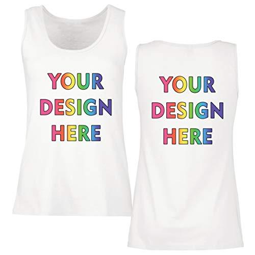 lepni.me Camisetas sin Mangas para Mujer Impresión Personalizada de 2 Caras en el Frente y en la Parte Posterior, Texto Personalizado o Diseño de su Propia Imagen (Large Blanco Multicolor)