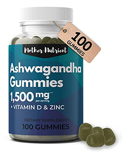 Mother Nutrient Ashwagandha Gummies - 100 Low Sugar Gummy Made with Ashwaganda Extract - Cortisol Stress Relief, Adrenal & Immunity Support, Anxiety Manager for Adults & Children - 1500 mg Supplement