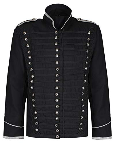 Ro Rox Black Parade Military Steampunk Gothic Jacket - Black & Silver (Men's XL)