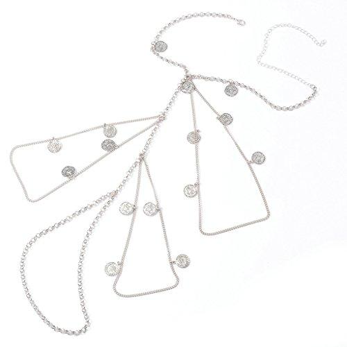 Bishiling Körperschmuck Damen Beinkette mit Münzen Körperkette Sommer Bikini Badeanzug Hotpants Oberschenkelkette Silber
