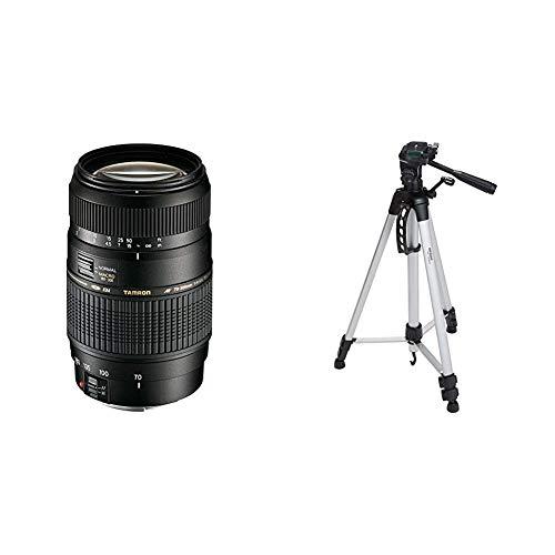Tamron A17E - Objetivo para Canon (70-300 mm, f/4-5.6, Macro, AF, 62 mm), Color Negro + AmazonBasics - Trípode Ligero Completo (Bolsa, Cabezal panorámico de 3 Posiciones, Zapata rápida), Color Negro