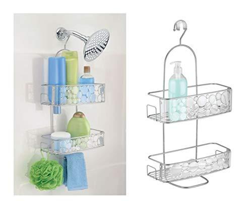 InterDesign Bubbli Mensola doccia da appendere | Scaffale doccia con 2 cestini e ganci | Mensola vasca da bagno e doccia | Metallo argento
