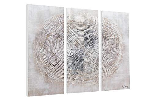 KunstLoft® Acryl Gemälde \'Spinning Around\' 90x90cm | original handgemalte Leinwand Bilder XXL | Kreis Abstrakt Beige Grau | Wandbild Acrylbild Moderne Kunst mehrteilig mit Rahmen