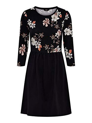 ONLY Damen Onlamber Amy 3/4 AOP Dress JRS Kleid, Mehrfarbig (Black AOP:JALENE Flower), Small (Herstellergröße:S)