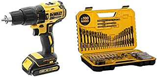 DEWALT 18V 13mm Compact Hammer Drill Driver, Brushless Motor, 2 x 1.5Ah Lithium-ion batteries, charger and kit box, 3 Year...