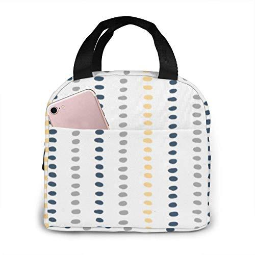 Bolsa de almuerzo con aislamiento de puntos a rayas azul marino, amarillo y gris, bolsa de asas con refrigerador de gran capacidad para picnic al aire libre en la oficina de la escuela