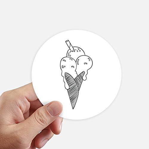 DIYthinker Contour Noir Biscuits sésame crème glacée Autocollants 10CM Mur Valise pour Ordinateur Portable Motobike Decal 8Pcs diamètre 10cm Multicolor