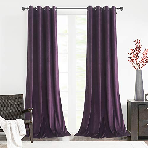 Roslynwood Home Office Velvet Curtains Thermal Insulated Luxury Energy Saving Grommet Top Light Blocking Drapery Drapes for Office Room 52W x 84L Inch Deep Purple Set of 2 Panels