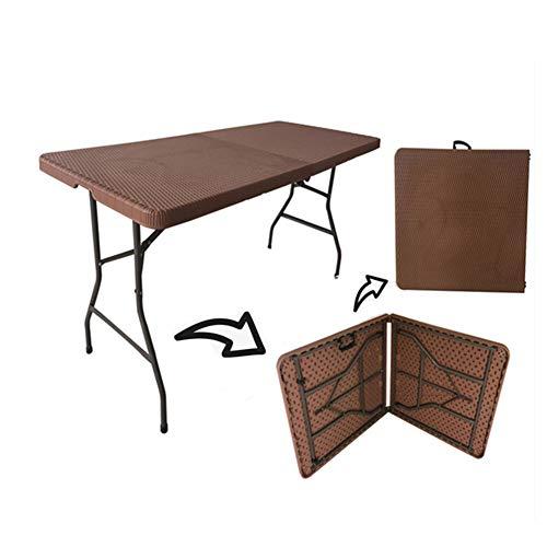XMY Faltbare Camping Tisch, Rattanoptik Plastikgartentisch mit Stahlrahmen und Tragegriff, Last 150 kg, geeignet für Camping Picknick BBQ Buffets