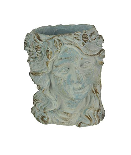 Mayrich Weathered Blue-Gray Concrete Olive Wreath Roman Lady Head Planter 8 Inches High
