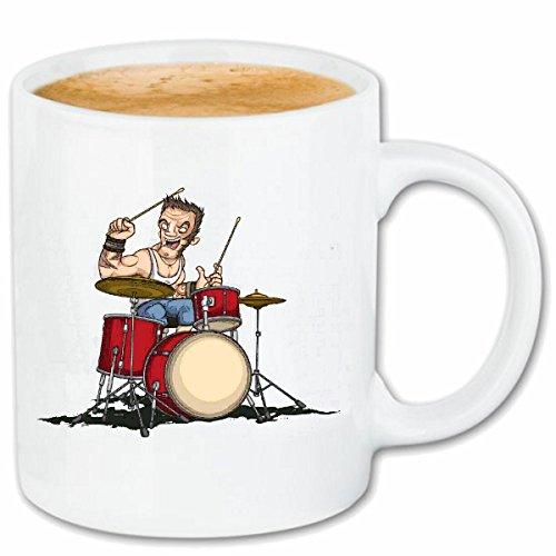 Reifen-Markt Kaffeetasse Schlagzeug Drumer Schlagzeuger Techno Jazz Funky Soul Trance Festival House Hiphop HIP HOP DJ Keramik 330 ml in Weiß