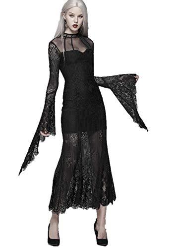Devil Fashion gotische zwarte jurken voor vrouwen stand-up kraag geplooid flared zien door mouwen jurk jurk jurk voor avond bruiloft Cocktail