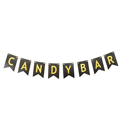 Haobase Pancarta de papel decorativa accesorio Candy Bar (negro)
