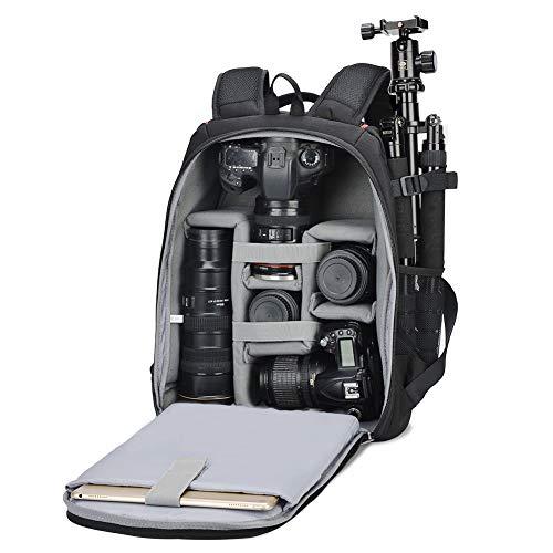 Kamerarucksack, CADeN Wasserabweisend Große Fotorucksack DSLR SLR Bag Diebstahl Professionell Kameratasche Kompatibel mit Foto Spiegelreflexkamera 1/2 Canon Nikon Sony 7 Objektiv Stativ (schwarz)