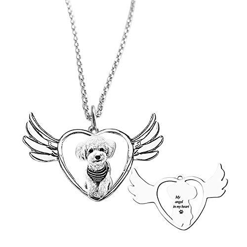 bishihongkuanbaihuod Collar Mujer Personalizado Texto Y Foto Grabados Collar Mujer Corazón Regalo Personalizado para Novia