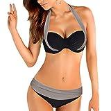 heekpek Tops de Bikini Conjunto Las Mujeres Empujan hacia Arriba El Sujetador Adornado Bandeau...