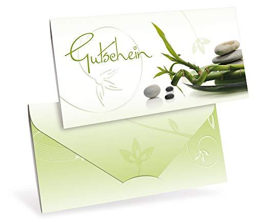 Gutscheinkarten (10 Stück) - Geschenkgutscheine für Physiotherapie, Yoga, Wellness - DIN lang Faltkarte verschließbar, blanko Vordruck zum Eintragen der Werte