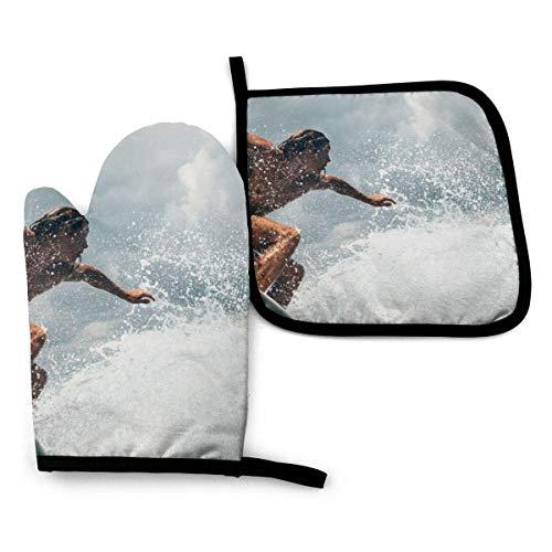 Juegos de manoplas para horno y soportes para ollas, alfombrillas seguras para el mostrador de manoplas de cocina con resistencia avanzada al calor, forro de algodón para tablas de surf en el mar, gua
