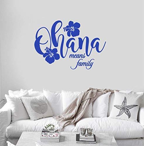 Wandtattoo, Motiv Ohana bedeutet Familie, Hisbiskus, Blume, Hawaii, Insel, Urlaub, Strand, Heimkunst, Spruch Buchstaben, Vinyl