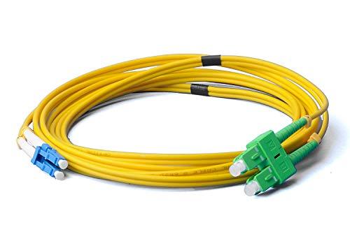 LWL Glasfaser-Kabel – 1m OS2 gelb, LC/UPC auf SC/APC Stecker, Duplex 9/125 Patchkabel – Lichtwellenleiter 1 Meter