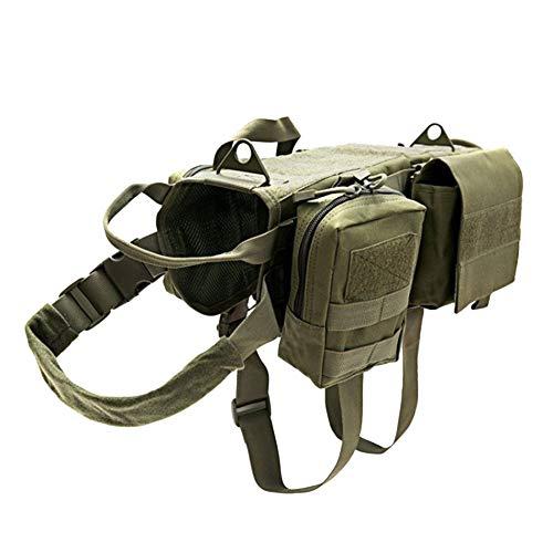 DaiHan Taktisches Hundegeschirr, Molle Trainingsweste,Verstellbar, Outdoor-Trainingsgeschirr mit 3 abnehmbaren Taschen, taktisches Hundegeschirr Army XL