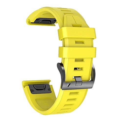 Armband für Garmin Fenix 5X /Fenix 5X Plus/Fenix 6X /Fenix 6X Pro/Fenix 3 /Fenix 3 HR, 26mm Breite Silikon Quick-Fit Uhrenarmband für Garmin, Mehrfache Farben (Gelb)