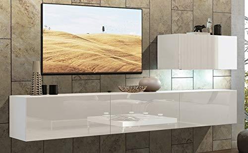 Home Direct Future 38 Weiß Modernes Wohnzimmer Wohnwand Wohnschrank Schrankwand Möbel Mediawand (C38/HG/W2 1M (ganz klein), Möbel ohne Led)