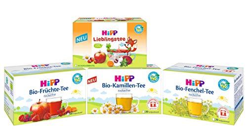 Hipp Bio-Tee-Mix bestehend aus je 20 Aufgußbeutel: Bio-Fenchel 30g, Bio-Kamille 30g, Bio-Lieblingstee 30g, Bio-Früchte 40g