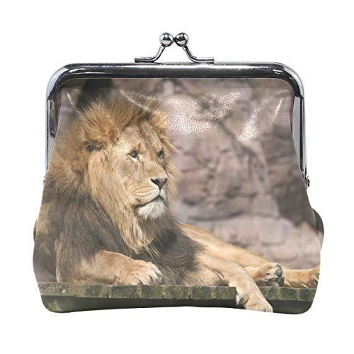Cartera de piel de león animal con cierre de broche para mujeres y niñas