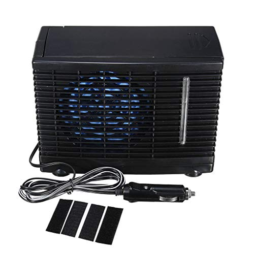 routinfly Mini aire acondicionado portátil, 12 V, portátil refrigerado por agua, unidad de acondicionamiento evaporativo universal con diseño robusto avanzada tecnología térmica (negro)