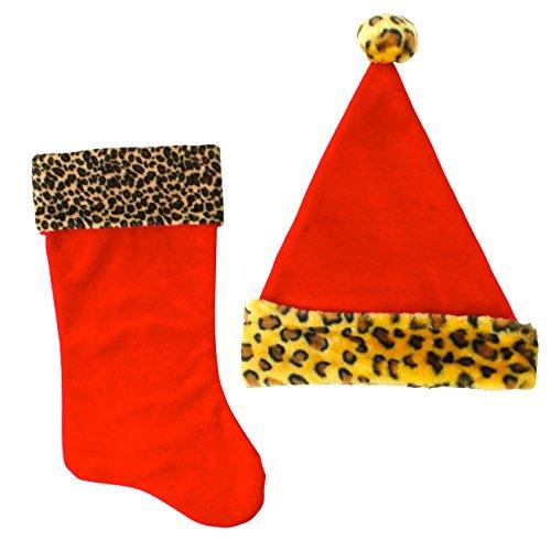 Good Old Values - Set di Calze e Cappello da Babbo Natale, Motivo Leopardato