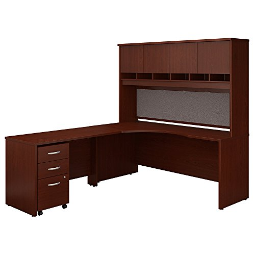 Bush Business Furniture Series C 72W Left Handed Corner Desk with Hutch and Mobile File Cabinet - Mahogany 71W X 83D X 73H ERGONOMICHOME BUSH BUSINESS FURNITURE