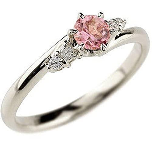 [アトラス]Atrus リング レディース 18金 ホワイトゴールドK18 ピンクトルマリン ダイヤモンド 指輪 エンゲージリング 一粒 大粒 ストレート 宝石 10月誕生石 22号