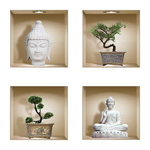 The Nisha DIY Pegatinas Etiquetas para Pared Desmontables de Vinilo 3D Arte Mágico, Conjunto de 4, Buda y bonsai