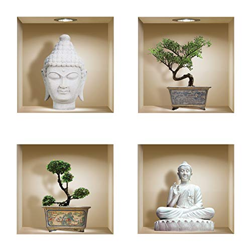 THE NISHA 4 PC Pack Art Magic Pictures Peel and Stick 3D Vinyl Removable Wall Sticker Decals DIY Sticky Backsplash, Buddha and Bonsai 427N