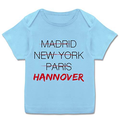 Städte & Länder Baby - Weltstadt Hannover - 68-74 - Babyblau - Hannover 96 - E110B - Kurzarm Baby-Shirt für Jungen und Mädchen