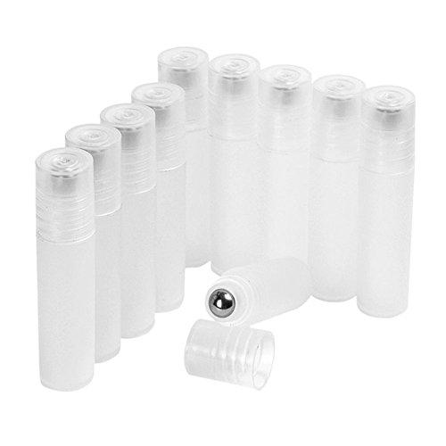 Gemini Mall® 10 leere nachfüllbare Glas-Rollflaschen (5 ml/10 ml) mit Edelstahl-Roller für ätherisches Öl, Parfüm, Serum, Kosmetik, Lotion, Behandlung, Zuhause und Reisen geeignet