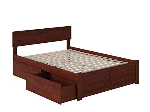 Atlantic Furniture Orlando Platform 2 Urban Bed Drawers, Full, Walnut