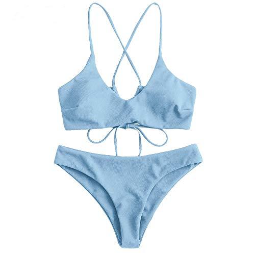 ZAFUL Women's Basic Two-Piece Criss Cross Push Up Bikini Set Textured Spaghetti Straps Wire Free Bathing Suit